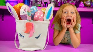 HUGE Unicorn Easter Basket Filled with Surprise Eggs & Blind Bags & Toys for Girls Kinder Playtime