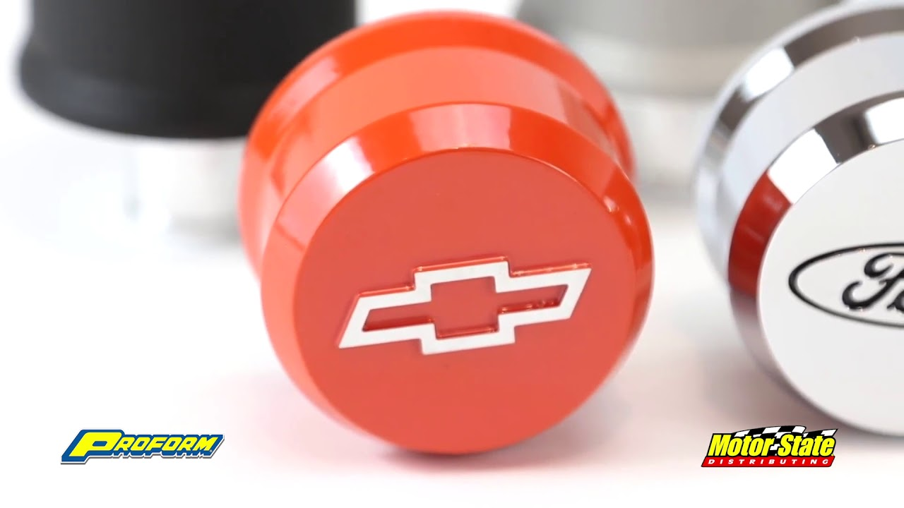 Proform Breather Cap 141-853; Slant Edge Chrome w// Recessed Red Bowtie Push-In