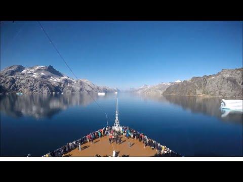 MS Zuiderdam sailing through Prins Christians Sund, Greenland - 4K