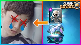 KID DIES AFTER UNLOCKING SKELETONS FROM LEGENDARY CHEST ! | Clash Royale  (click bait)