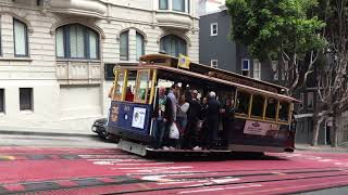 Powell-Hyde Cable Car 16 @ Powell St & Pine St San Francisco California (Slow Motion)
