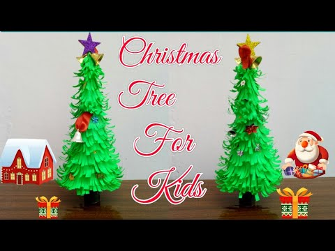 DIY Paper Christmas tree|Making Paper Xmas tree step by step|Paper Craft for kids