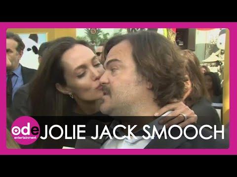 Angelina Jolie smooches Jack Black at Kung Fu Panda 3 premiere
