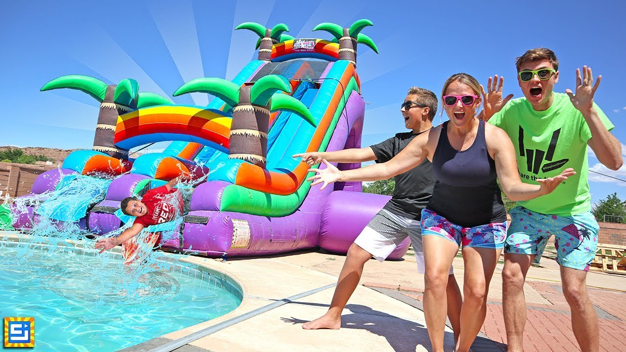 Giant Inflatable Water Slide In The Pool Fun Surprise Party with Sharer Fam!!