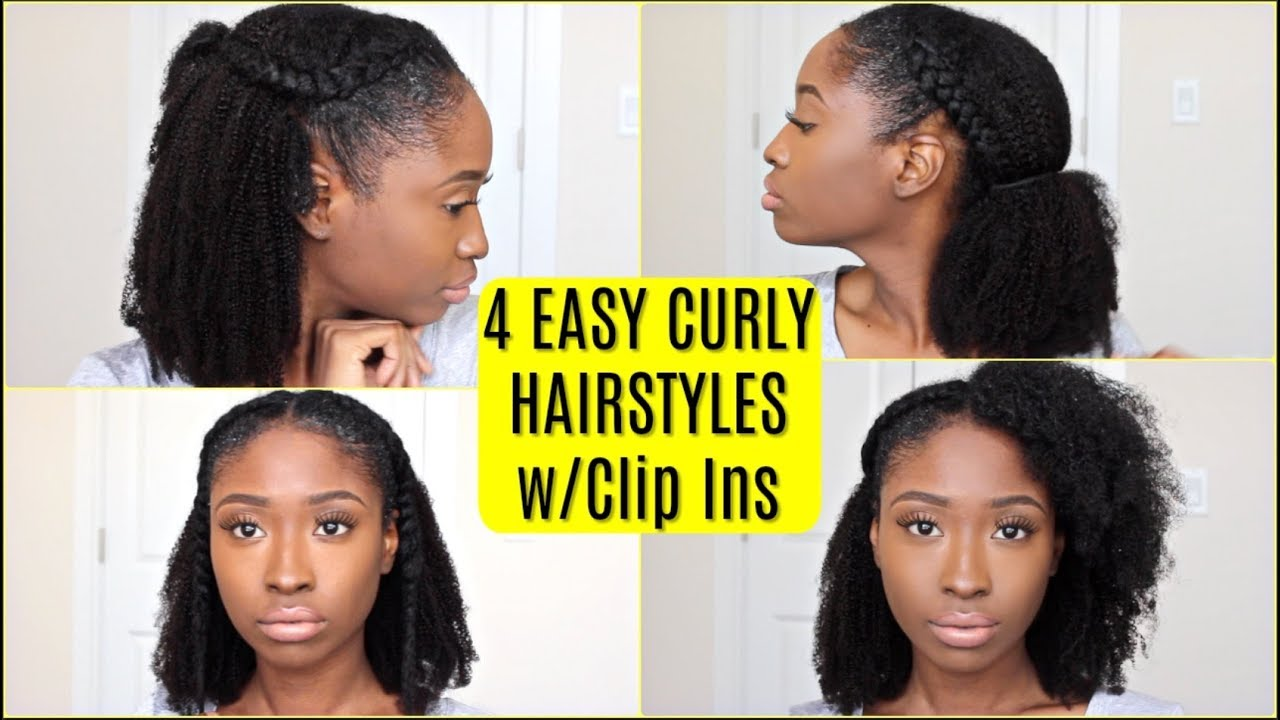 4 Easy Curly Hairstyles For Curly Hair Ft Hergivenhair Natural Hair Clip Ins
