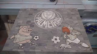 Palmeiras FC end grain cutting board with pig and parrot