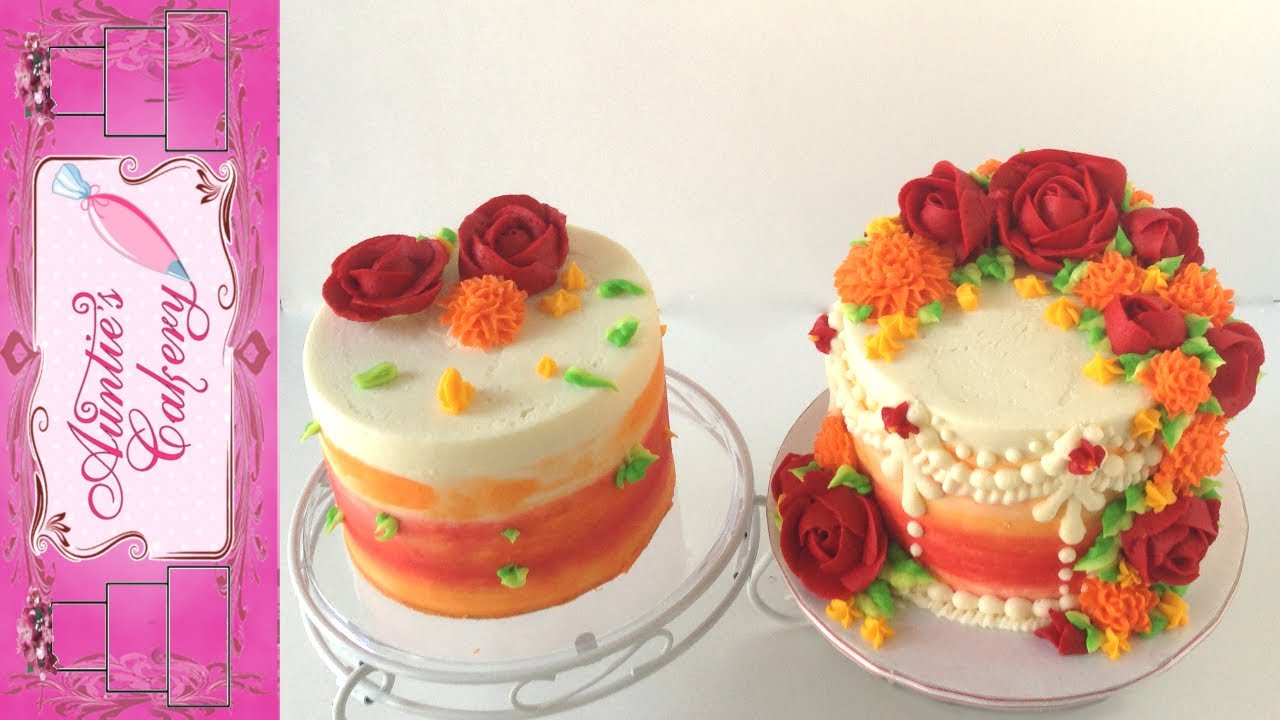Red Orange Yellow Flower Buttercream Cake Tutorial Youtube