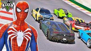 CARROS com Homem Aranha e Heróis na Mega Rampa! Desafio Saltos Acrobáticos - GTA V Mods - IR GAMES