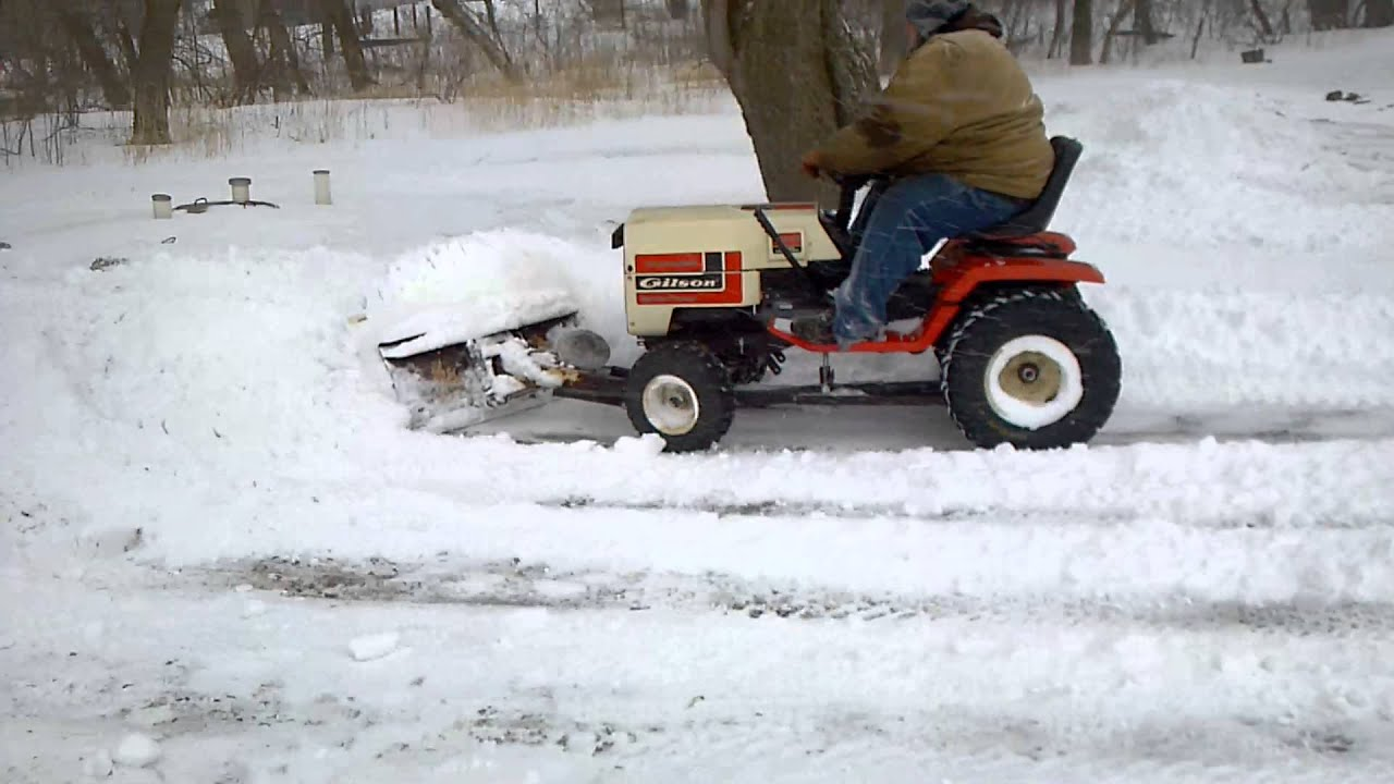 old gilson garden tractor plowing snow 3 youtube