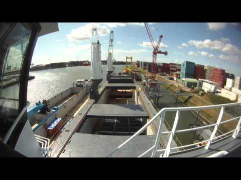 Timelapse shipboard operations port of Rotterdam and Cherbourg.