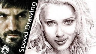 How to draw SCARLETT JOHANSSON! Time-lapse DRAW! Portrait of Sexyest Hollywood actress!