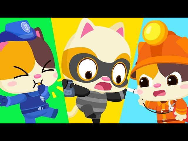 Baby Kitten Pretends Play as Cop,  Fireman   Play Safe Song   Nursery Rhymes   Kids Songs   BabyBus