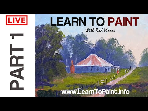 Water Mixable Oil Painting Beginners Tutorial Cottage In Landscape Step By Step – Part 1