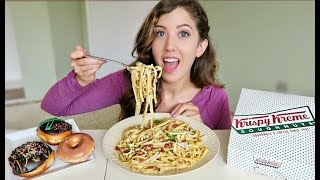 CHEESY BACON PASTA CARBONARA + Krispy Kreme MUKBANG! (Eating Show)