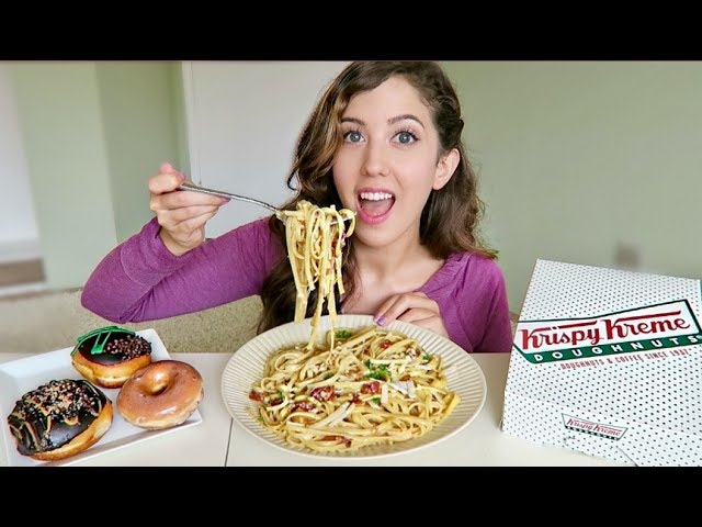 Cheesy Bacon Pasta Carbonara Krispy Kreme Mukbang Eating Show Meesh La