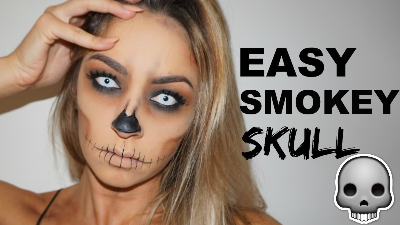 easy halloween makeup tutorial smokey skull youtube. Black Bedroom Furniture Sets. Home Design Ideas