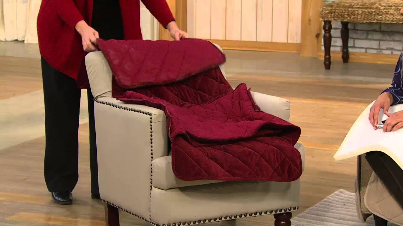 """Sure Fit Sofa Furniture Cover with 1"""" Memory Foam Seat with Dan"""