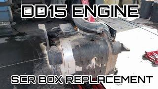 Freightliner Cascadia DD13 DD15 engine SCR box DOC DPF remove replacement DEF light flashing