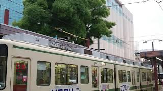 【パンタ交換】広島電鉄3800形3804号『ぐりーんらいなー』広島駅にて