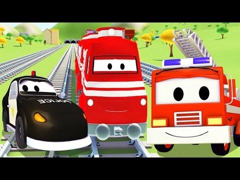 Поезд и Авто Патруль: пожарная машина и полицейская машина | мультик для детей на русском