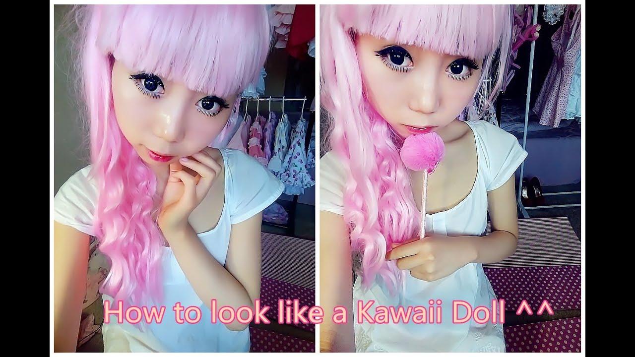 How to look like a Kawaii Doll - Dolly Eye Makeup Tutorial - YouTube