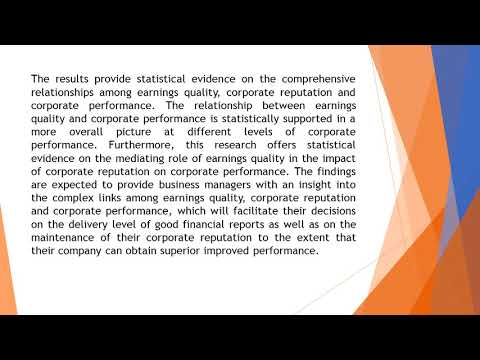 Earnings Quality with Reputation and Performance AEFR 2018 82 269 278