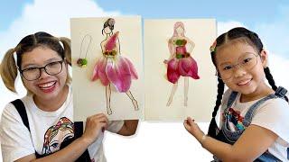 Làm Váy Bằng 100 Bông Hoa Cho Búp Bê | DIY flower skirt for dolls ❤Susi kids TV❤