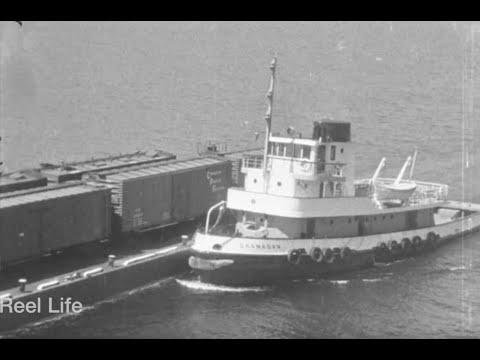 1961, A visit to the bridge operators cabin, tug & barge, Kelowna Floating Bridge, Kelowna, BC