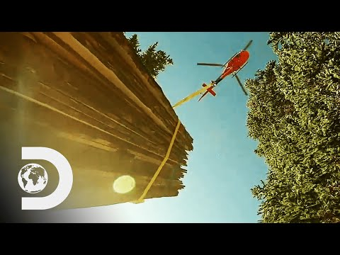The Guys Use A Helicopter To Transport Cabin Up A Hill | Lost Mines: Restored