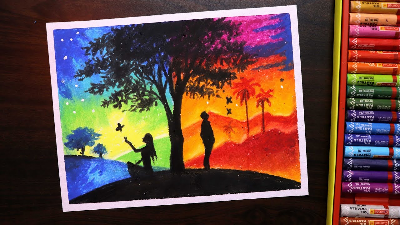 Oil pastel drawing for beginners two different sides day and night scenery drawing