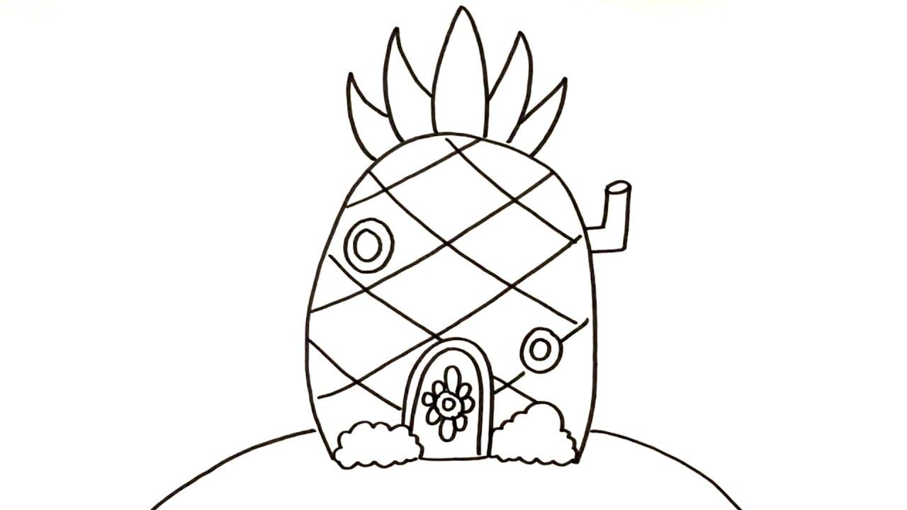 Drawing & Coloring Spongebob Squarepants Pineapple Houses For Kids