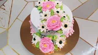 Торт с персиково заварным кремом с новыми цветами