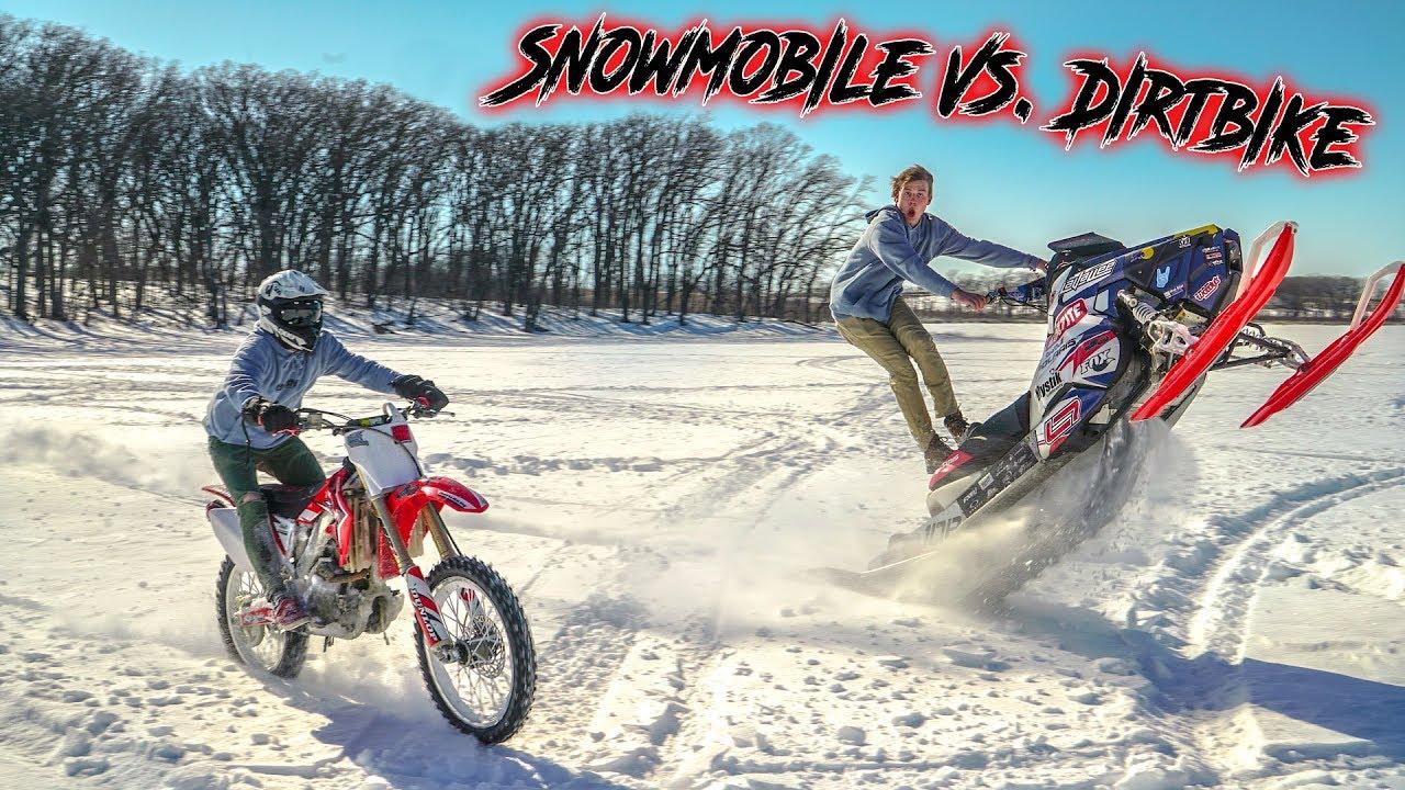 Dirt Bike Snowmobile >> Dirtbike Vs Snowmobile On Ice Youtube