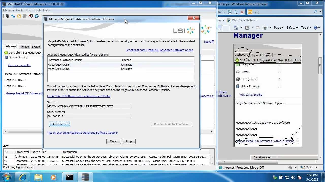 How to enable LSI CacheCade 2 0 Pro and FastPath 30 day trial on LSI  9265-8i RAID adapter