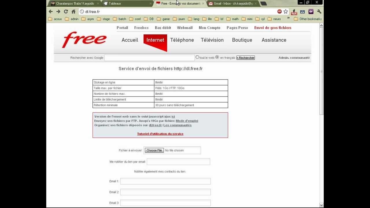 service d envoi de fichiers http dl free fr