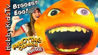 Worlds Biggest Annoying Orange Surprise Egg! Toys Imaginext, Marshmallow Play-doh Hobbykidstv