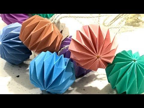 DIY Paper String Light【Origami paper lantern】