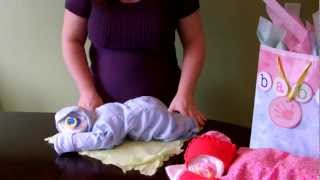 How To Make A Diaper Baby - Sleeping Baby Boy (diaper Cake)