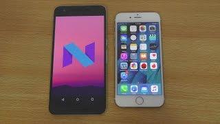 Nexus 6P Android N vs iPhone 6S iOS 9.3 - Speed Test (4K)