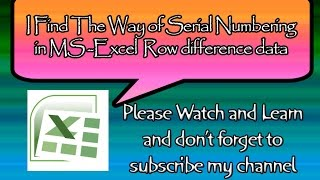 MS Excel tricks how to numbering row difference data