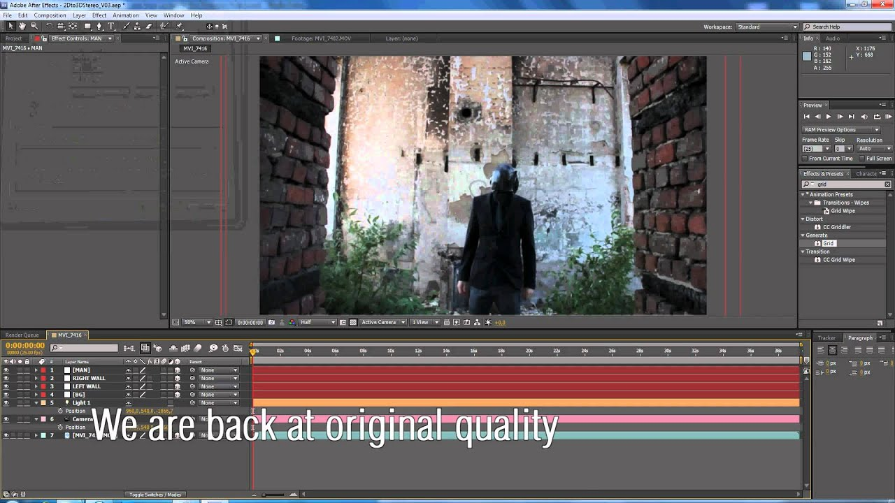 2D to 3D Projection mapping - After Effects Template