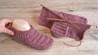 Следки «Крыло летучей мыши» спицами 🦇 Slippers «Bat wings» knitting pattern