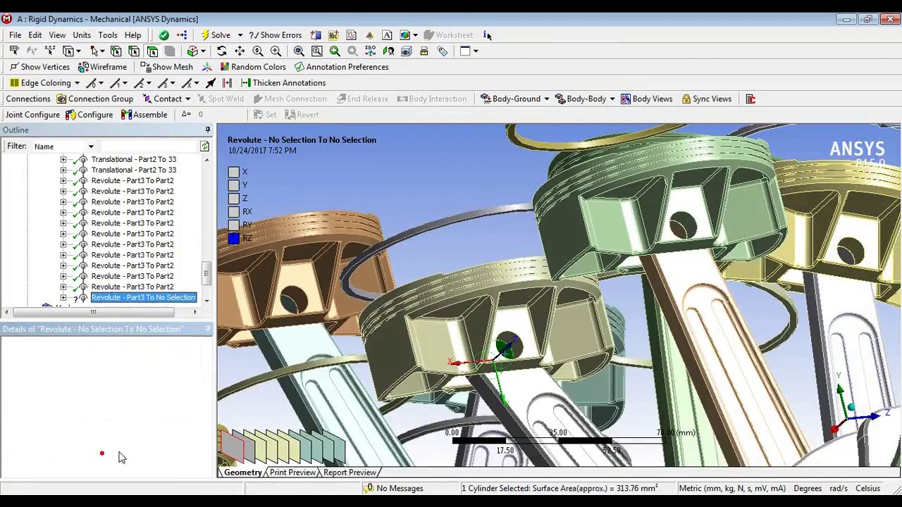 Ansys Tutorial - Rigid Body Dynamics W16 Type Engine (Motion Study