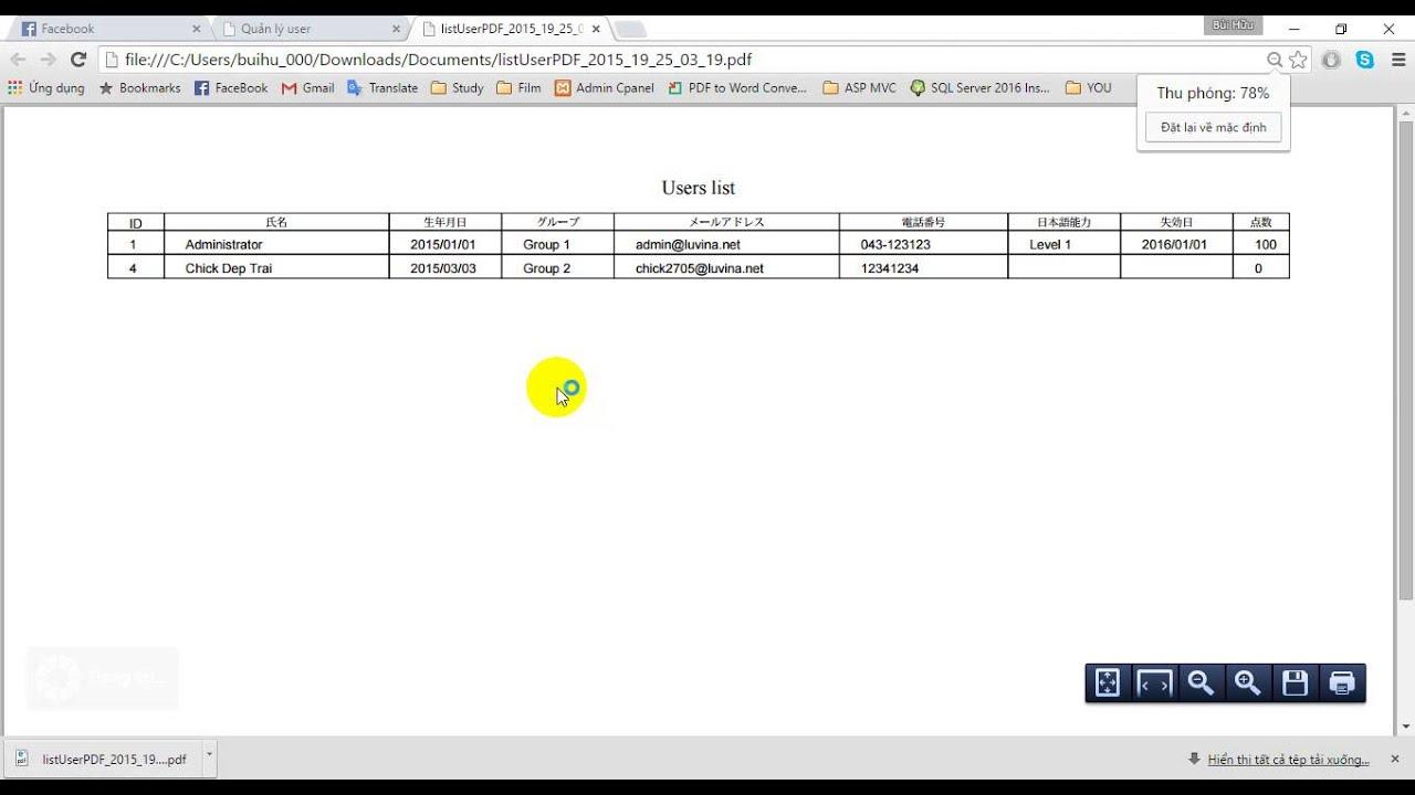 Test Function Export to PDF Java Servlet