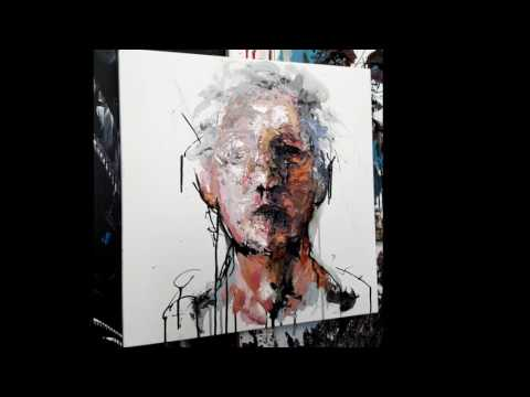 Abstract portrait time lapse live painting