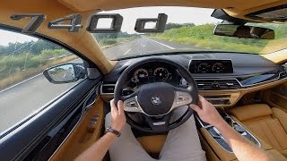 BMW 7 Series G11 740d ACCELERATION & TOP SPEED Interior POV Test Drive AUTOBAHN