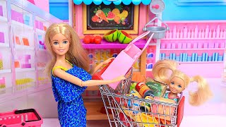 Barbie Doll Family Routine - Supermarket Grocery Shopping