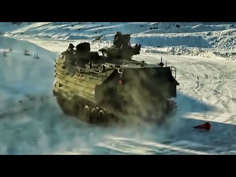 Marines Amphibious Assault Vehicles On Icy Obstacle Course