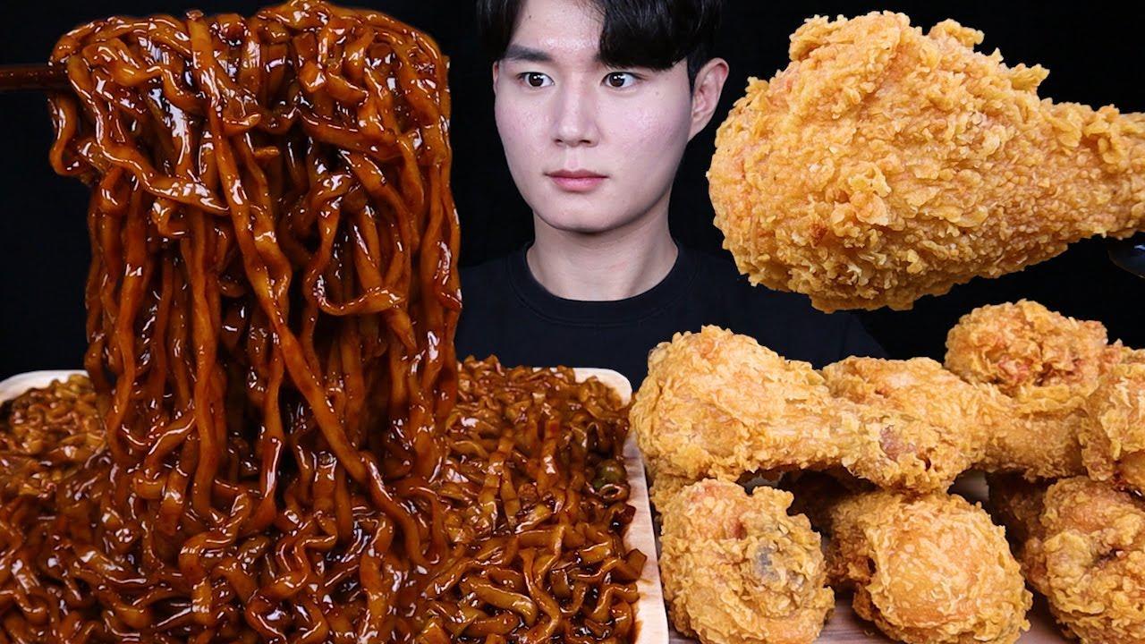 진진짜라 황금올리브 치킨 먹방ASMR MUKBANG SPICY BLACK BEAN NOODLES & FRIED CHICKEN チキン チャジャンラーメン eating sound