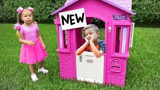 Diana compra uma casinha de brinquedo nova